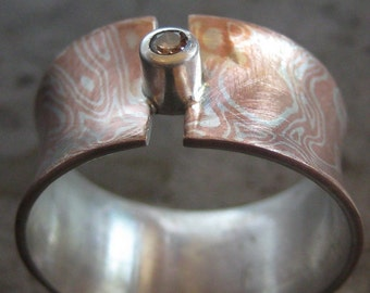 Mokume gane ring with a diamond,  Mokume Gane Band, Gemstone Ring, Flare Ring