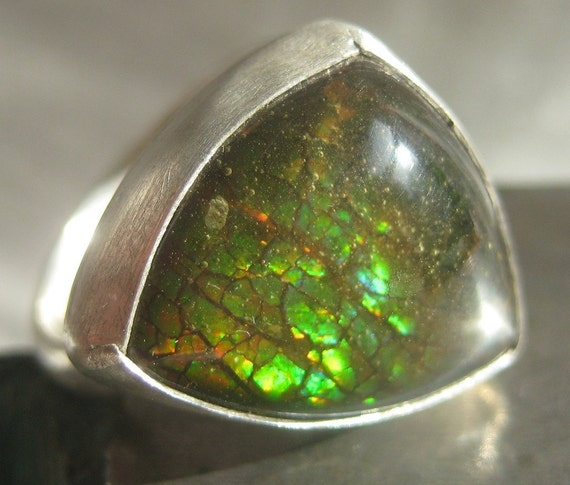 reserved for lauramacmac.  Sterling Silver Ring.  Triangular Ammolite Ring.