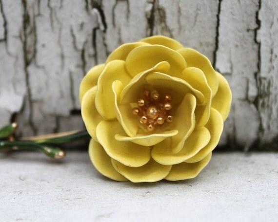 Yellow Rose Brooch