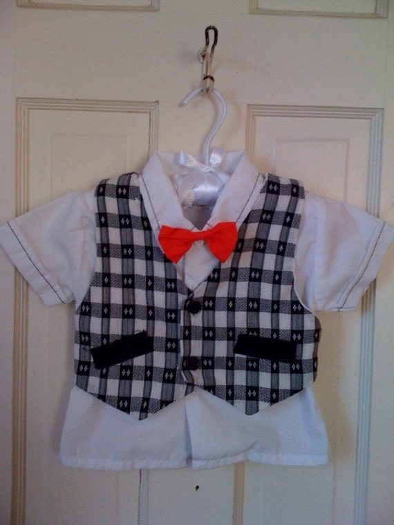 Boys White Dress Shirt With Red Bow Tie And Vest 18 Month