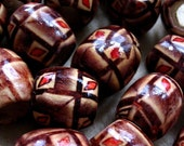 Rustic wooden painted beads