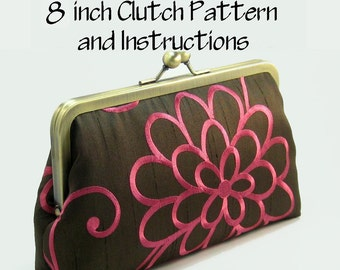 Purse Pattern PDF / Pattern and Instructions / Frame Clutch Pattern / 8 Inch Clutch Purse