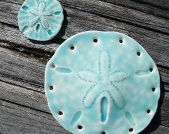 Ceramic Baby Blue Sand Dollar Pine Needle Basket Base with Accent