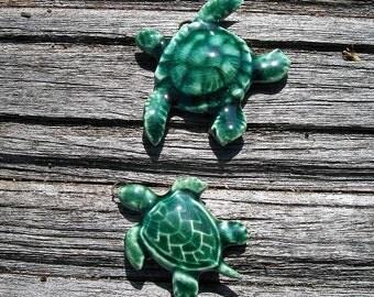 Pair of Ceramic Sea Turtles