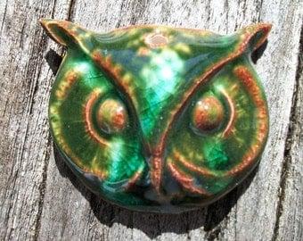 Woodsy Green Ceramic Owl Head Pendant