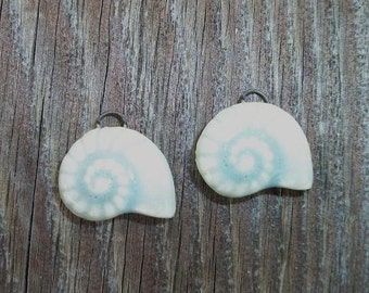 Handmade Ceramic Seafoam Blue Shell Earring Pair