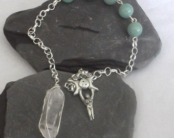 Clear Quartz Mother Earth Pendulum Wicca Pagan Witch
