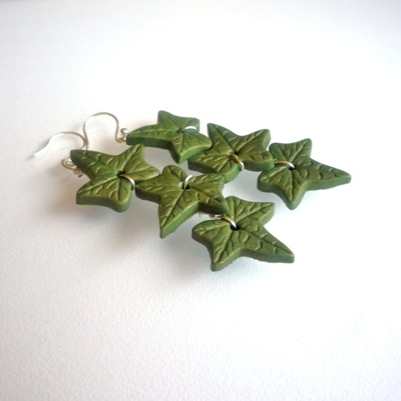 Poison Ivy Polymer Clay Earrings