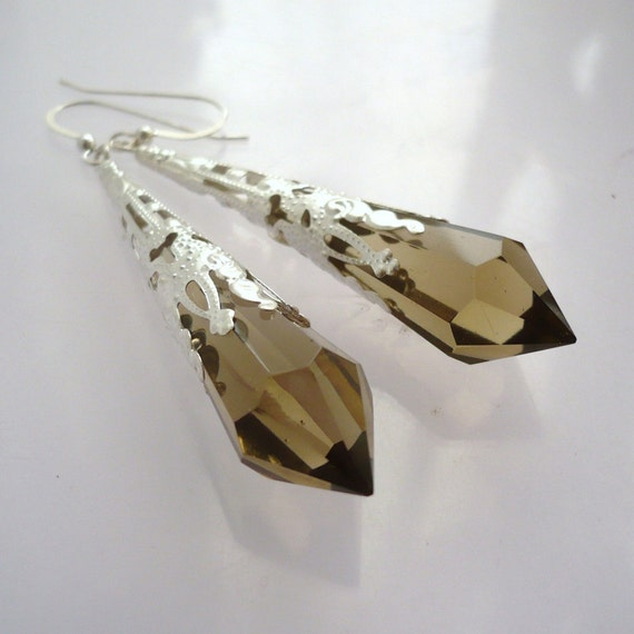 Smoky Quartz Victorian Inspired Earrings