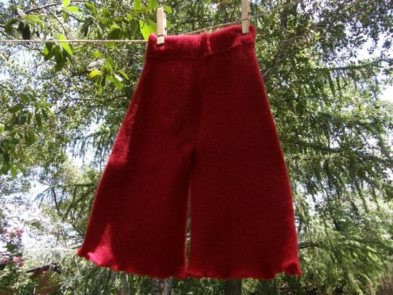 Newborn or Small Longies in Cherry Red Lambswool