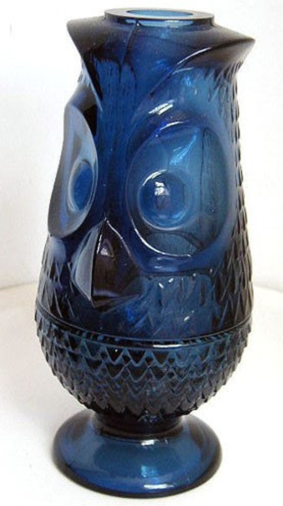 Vintage Viking Glass Blue Owl Fairy Lamp Candle By