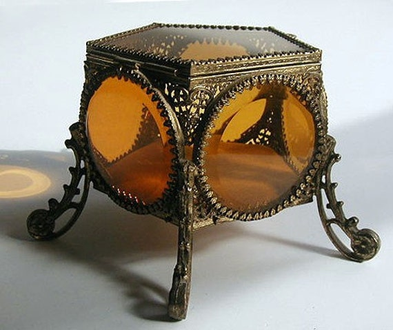 Vintage Filigree Jewelry Casket With Amber By Merrysunshine