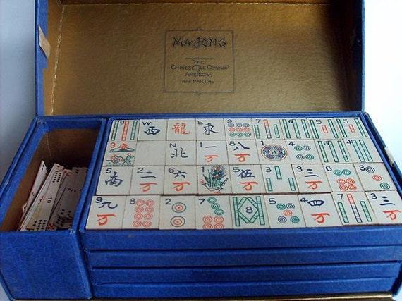 Vintage Mah Jong Game Wood Tiles original box