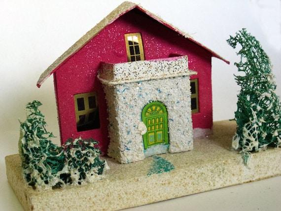 Vintage Mica Putz Christmas Village House Japan Large