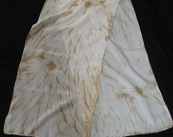 Dune Storm Shibori Hand Dyed with Natural Homegrown Plant Dyes Long Silk Scarf