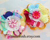 Colorful Ruffly Flower Embellishments with Painted Button Centers