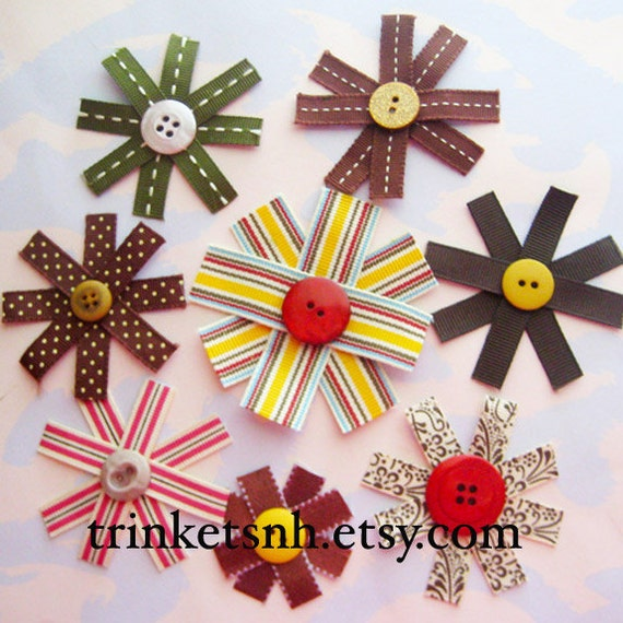Ribbon Flower Embellishments with Button Centers