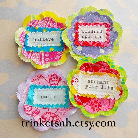 Fabric Flowers Sewn Sentiment Embellishments