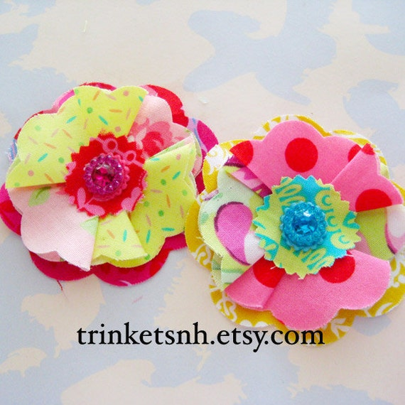 Colorful Ruffly Flower Embellishments with Jeweled Centers