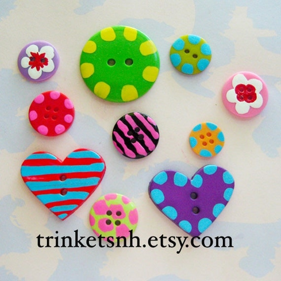 Hand-Painted Buttons Set of Ten
