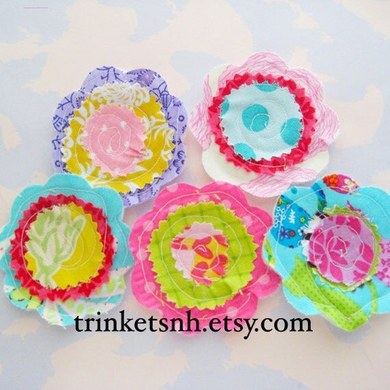 Sewn Fabric Flowers Embellishment Set