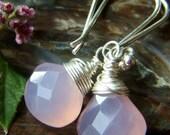 Petal . Soft Pink Chalcedony Earrings on Sterling