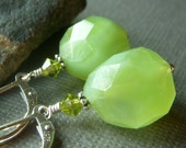 Margarita . Chartreuse Chalcedony Nugget Earrings on Sterling Leverbacks