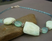 Peruvian Opal Necklace on Sterling with Aqua Chalcedony Gemstone . Blue Gemstone . Cool Water