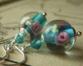 Bluegreen Lampwork Earrings on Sterling . Teal Floral Glass . Buds