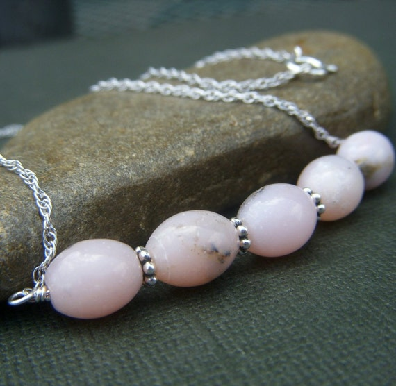Pink Peruvian Opal Necklace and Earring Set on Sterling . Softly