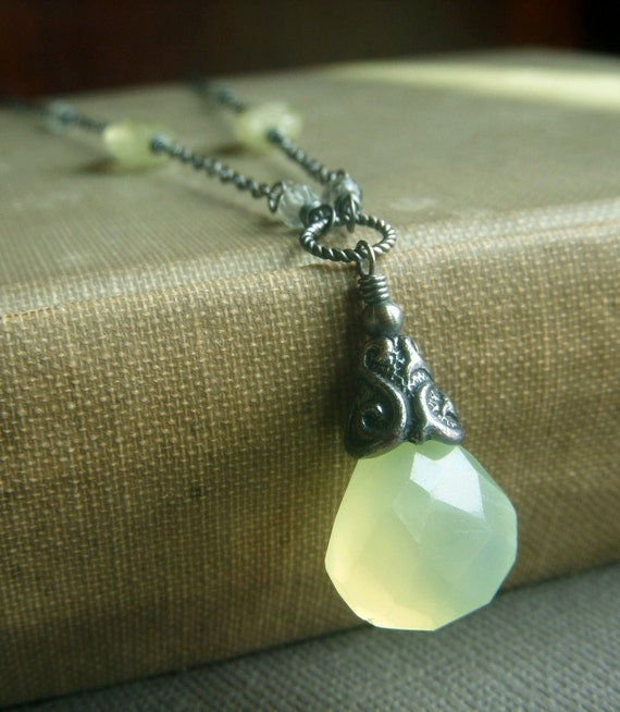 Chalcedony Prehnite Necklace on Oxidized Sterling . Wirewrapped Chartreuse Briolette . Margarita