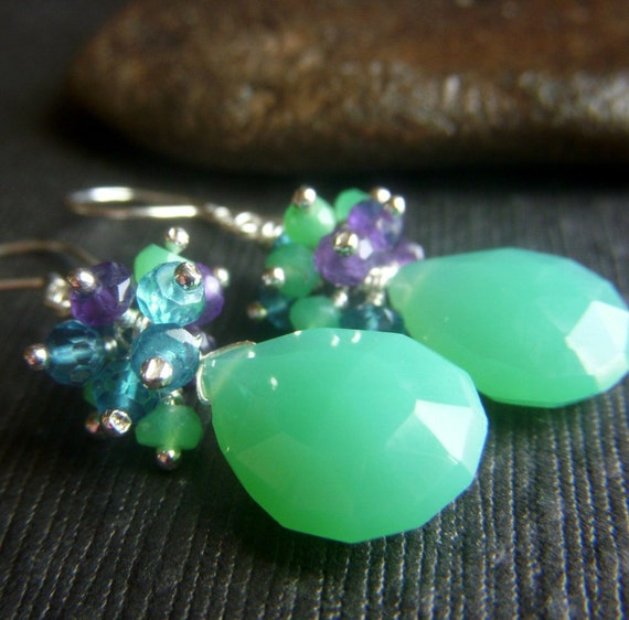 Chrysoprase Chalcedony Earrings on Sterling . Wirewrapped Briolette Multicolor Gemstone Cluster . Surf