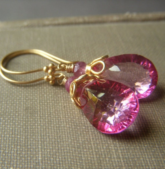 Pink Topaz Earrings on Gold . Concave Wirewrapped Briolette . Sparkling Rose