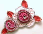 Zipper Flower Pin Brooch Pink & Red