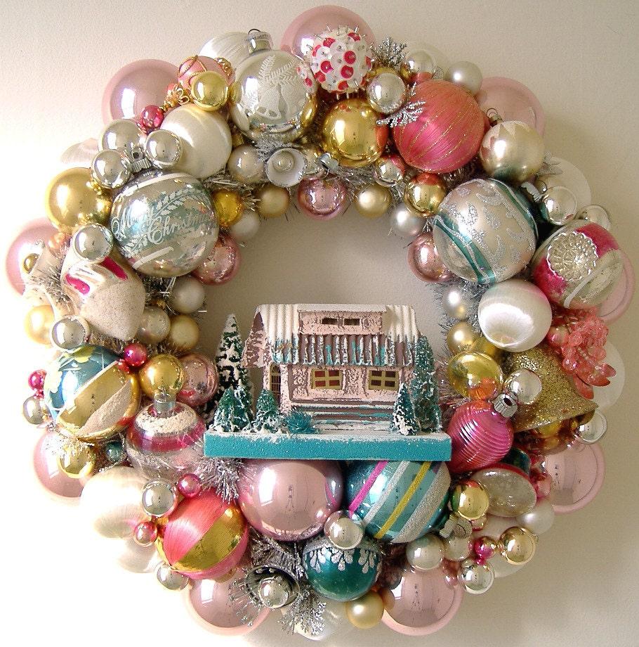 Vintage Christmas Ornaments Wreath Putz House