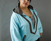 Plus size Blue Cotton Hooded Top