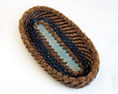 Coiled Pine Needle Cracker Basket Oval Oblong Blue Brown Natural Serving Tray Rustic Woodland Eco Friendly Coiled Shallow Plate Kitchen Dine