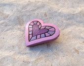 Gourd Heart Pin Brooch Pink Purple Bright Funky Whimsical Fun Woodburned & Painted