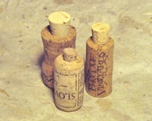 Cork Bottle Set of 3 Recycled Cork Bottle Vial Jar Miniature Container