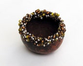 Gourd Bowl Beaded Woodland Mini Chocolate Brown Ring Dish with Pearl Mustard & Brown Beads
