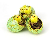 Egg Gourds, Spring Easter Eggs with Baby Chicks Set of 3 Green Yellow Speckled Painted Egg Gourds Decorations Ornaments