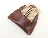 Ceramic Toothpick Holder Wall Pocket Cinnamon Brown Stoneware Pottery for Kitchen