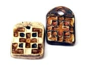 Pendants 2 Stoneware Clay Pottery Ancient Relic Cross Look Earthy Browns