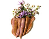 Wall Pocket Vase Soft Mauve Brown Rustic Free Form Flower Arrangement Earthy Flower Holder Ceramic Home Decor Wall Hanging Modern Natural