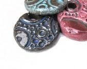 3 Pendants Reversible Pottery Jewelry Focal Ceramic Stoneware
