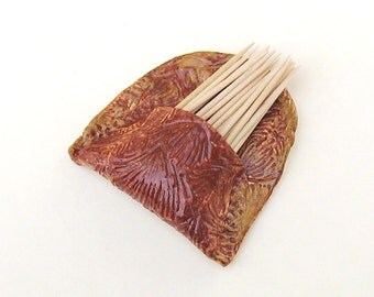 Toothpick Holder Ceramic Wall Pocket Pottery Vase Kitchen Accessory Cinnamon Brown Woodland Cabin Chic Rustic Textured Earthy Natural Cute