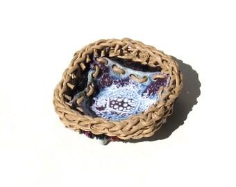 Candle Holder Stoneware Pottery Woven Basket Woven Dish Blue Purple White Cottage Chic Shabby Elegance Tan Rim Ceramic Container Votive Dish