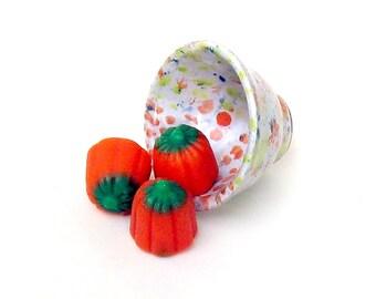 Ceramic Ring Dish Bowl Miniature Pottery White Orange Green Pastels