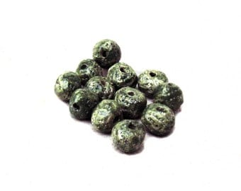 Round Ceramic Beads Rustic Moss Green Set of 12 Textured Ball Beads Woodsy Cool Earthy Handmade Clay Jewelry Supply Beading Supply Chunky