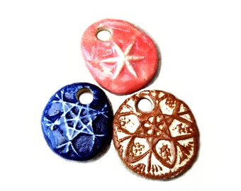 Pendants Set of 3 Stoneware Pottery Beads Charms Star Designs Blue Brown Pink Large Hole Ceramic For Necklace Over 1 Inch Oval For Women